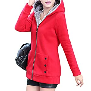Leoie Women Fashion Autumn Winter Thicken Hooded Coat Solid Color Soft Cotton Hoodie