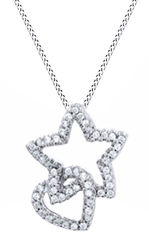 Jewel Zone US Mothers Day Jewelry Gifts Natural Diamond Heart Star Pendant Necklace in 14k White Gold Over Sterling Silver (1/5 Ct)
