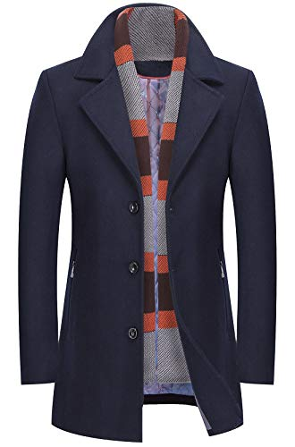 chouyatou Men's Winter Notched Collar Single Breasted Quilted Wool Midi Coats Plaid Scarf (Navy, X-Small) (Peacoat Notched Collar Wool)