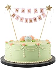 LXZS-BH Mini Happy Birthday Cake Topper Banner - Party Cake Decoration Supplies (Pink)