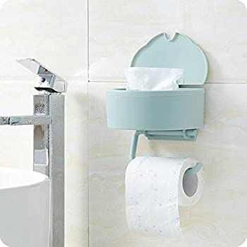 this item auch wall mounted dual purpose wet tissue box toilet paper holder storage bathroom paper towel dispenser roll hanger light blue