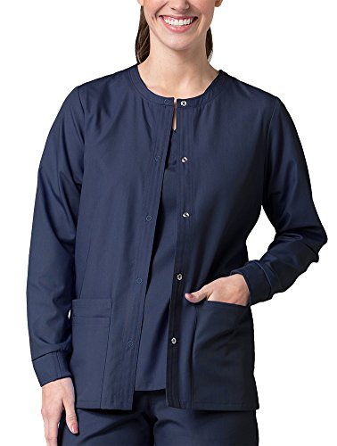 (Red Panda Women's Warm Up Solid Scrub Jacket Large True Navy)
