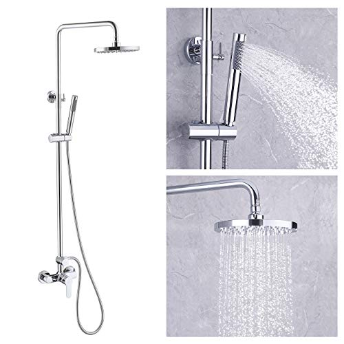 KES Rain Shower System Pressure Balancing Valve Exposed Shower Set Rainfall Shower Head Adjustable Slide Bar 2-Function Polished Chrome, XB6008D-CH