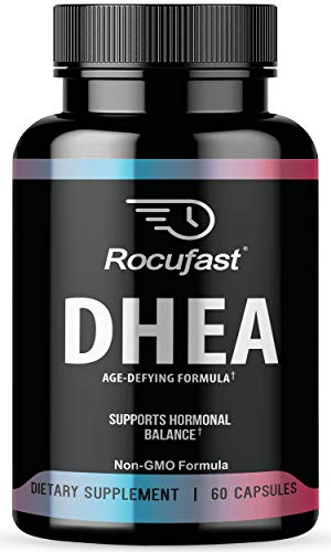 Rocufast DHEA Extra Strength Natural Energy Supplement Mood Boost for Healthy Aging Support Premium DHEA Supplement Pure Hormone Balance Supplement for Men and Women 60 Count