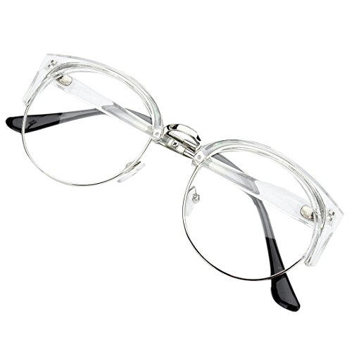 Glasses - TOOGOO(R)Retro Style Women Men Round Nerd Glasses Clear Lens Eyewear Metal Frame Glasses Colors:Transparent White+Silver - Sunglasses Type R