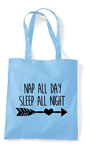 Bag Nap Blue Day All Night Sleep Tote Statement Shopper Sky gYPqg