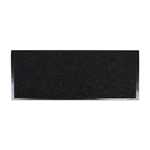 J&M Home Fashions Heavy Duty, Extra Long Waterproof Ribbed Utility Doormat (22x60 - Charcoal Black) Entry Way Shoes Scraper Patio, Garage Front Door, Trap Dirt, Debris, Mud Outside