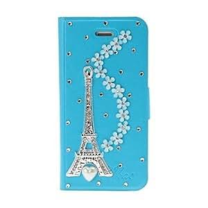 HC-DIY Torre Eiffel y de las flores con el patrón del Rhinestone completo estuche de cuero de cuerpo con el soporte para iPhone 5/5S