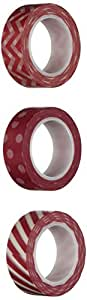 Wrapables Ravishing Red Washi Masking Tape, 10M by 15mm, Set of 3
