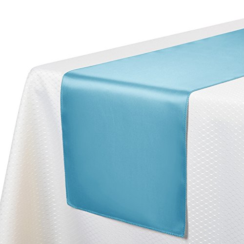 VEEYOO 10 Pieces 12x108 inch Satin Table Runners Linens for Wedding Party Banquet Table Top Decoration, (Light Blue Table Runner)