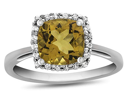 (Finejewelers 10k White Gold 6mm Cushion Citrine with White Topaz accent stones Halo Ring Size 6)