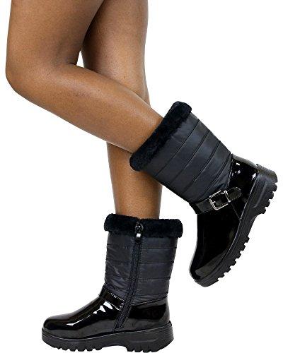 Gnd Fashion Mujeres Adba One Buckle Para Clima Frío (disponible En 2 Colores), Negro, 6