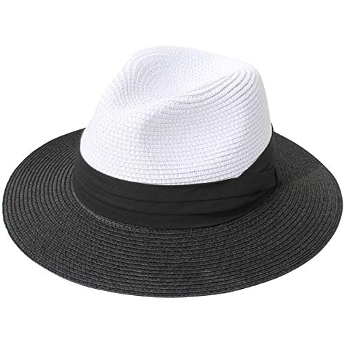 JOYEBUY Womens UPF50 Foldable Summer Straw Hat Wide Brim Fedora Sun Beach hat -