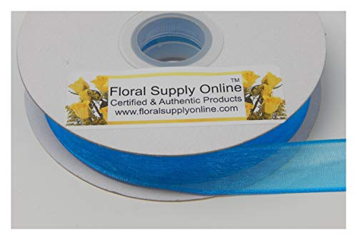 5/8 Scrapbooking Ribbon Bows - #3 Wired Edge Sheer Organza Ribbon for Floral, Fashion, Craft, Scrapbooking, Gift Wrapping, Hair Bows, Wedding, Baby Shower, and Decorating Projects. (5/8 Inch x 25 Yard, Turquoise)