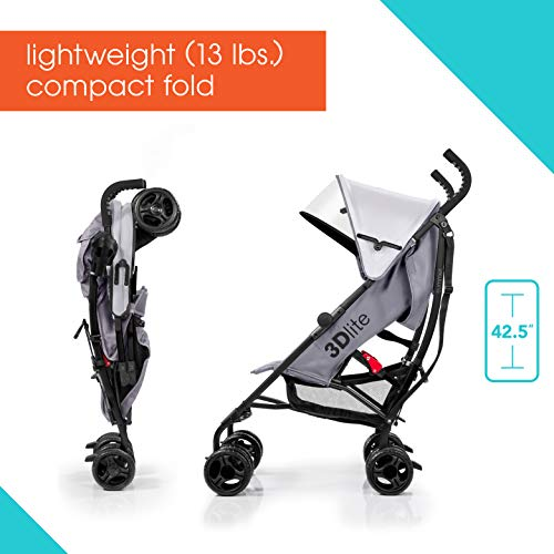 41vVAU3dVhL - Summer 3Dlite Convenience Stroller, Gray – Lightweight Stroller With Aluminum Frame, Large Seat Area, 4 Position Recline, Extra Large Storage Basket – Infant Stroller For Travel And More