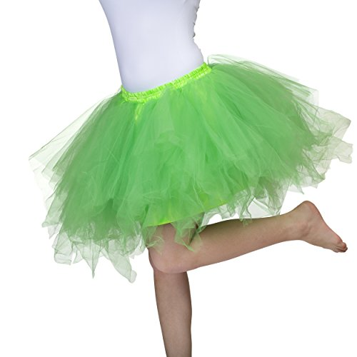 Dancina Women's Adult Vintage Petticoat Tulle Tutu Skirt [Sticker XL],Green,Regular Size -