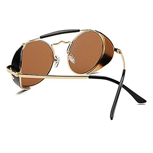 Hommes Femmes Lunettes de soleil rondes classiques hibote avec Protection UV400 C1