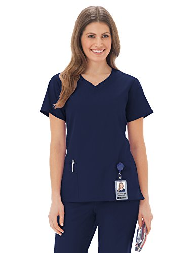 Fundamentals by White Swan Women's 3 Pocket V-Neck Solid Scrub Top Large Navy