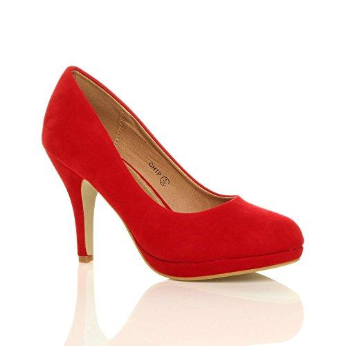 tacco scarpe Rosso décolleté lavoro taglia Scamosciata sera medio Donna alto festa semplice faqfw