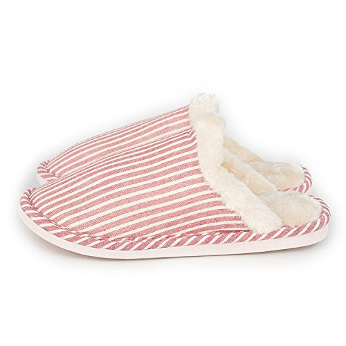 New Lattice Cotton Slippers Rubber Slippers Gingham Home Khaki Baolustre Winter Top Vertical Mao Stripes Then YFwRU
