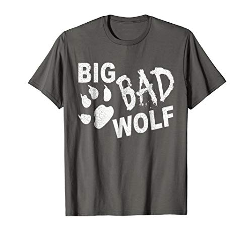 Big Bad Wolf Paw Distressed White Funny Novelty T Shirt