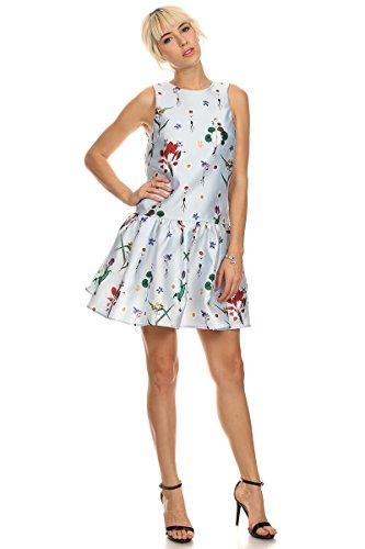Buy blue floral print drop waist dress - 8