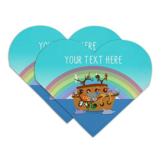 - Personalized Custom 1 Line Noah's Ark with Rainbow Heart Faux Leather Bookmark - Set of 2