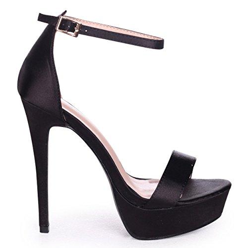 Linzi Alesha - Black Satin Nappa Platform Stiletto Heel Black Satin pQBTX0