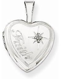 Solid 925 Sterling Silver & Diamond Faith 12mm Love Heart Locket Opens Engravable Pendant (.01 cttw.) (3mm)12mm Width)