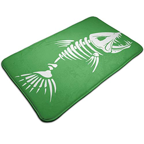 Warm-Tone Bones Fish Memory Foam Bath Mat Non-Slip Absorbent Super Cozy Soft Velvet Bathroom Rug Carpet, 19.7