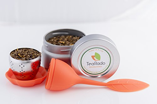 Loose Leaf Tea Travel Set | Organically Sourced Brazilian Yerba Mate | Stainless Steel Infuser & Drip Pad | Packaged in Reusable Airtight Tins, Carry Anywhere and Brew (Brazilian Mate, Orange) -