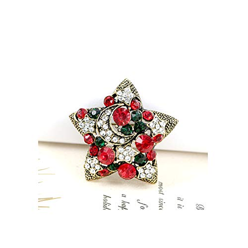 MYANAIL Fashion Crystal Rhinestone Star Brooch for Women's Clothing Accessories Jewelry Stars Moon Brooch Pins (Gold)