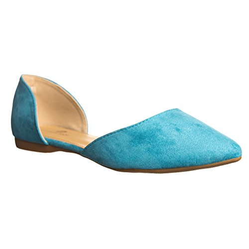 Turquoise Women's Flat Suede Side Riley Riverberry D'Orsay Open Pointed Toe 8dwaZAnvq
