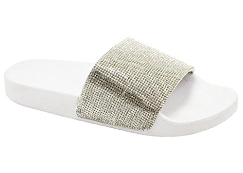 Lauren Best Metallic White Cute Wide Band Open Heel Flip Flop Prime Trendy Fancy Flat House Pool Lightweight Pretty Ladies Sandal Slide Slip On Slipper Summer Sale for Women Teen - Fancy Lady Flat Shoes