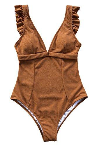 (CUPSHE Women's Sweet Caramel Ruffles V Neck One Piece Swimsuit Large )
