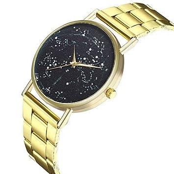 Relojes Hermosos, Hombre Mujer Reloj creativo único Reloj Casual Chino Cuarzo Esfera Grande Punk Fase lunar Acero Inoxidable Banda Moda Cool Dorado (Color ...