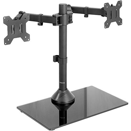 VIVO Freestanding Dual Monitor Stand Adjustable Arm Mount with Black Glass Base | Holds 2 Screens up to 27 inch, 22 lbs Each (STAND-V002FG)