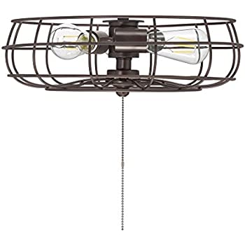 Industrial Cage Oil Rubbed Bronze Ceiling Fan Light Kit