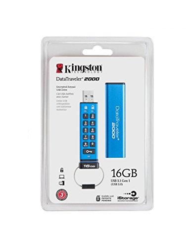 8 Gb Biometric Usb - Kingston Digital 16GB DT2000 Keypad USB 3.0 ,256bit AES Hardware Encrypted (DT2000/16GB)