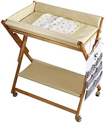 男の子の女の子のためのベージュ赤ん坊のおむつの変更テーブル、新生児の幼児のための携帯用折り畳み式の木製のマッサージの接触心配場所