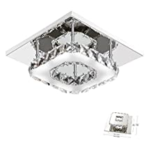 Goeco Mini Modern Crystal Chandelier Square Ceiling Lamp Stainless Steel LED Light for Bedroom, Bathroom, Dining room,8.3x8.3In,12W