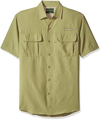 Explorer Mens (G.H. Bass & Co. Men's Explorer Point Collar Short Sleeve Fishing Shirt, Large, Green Sage)