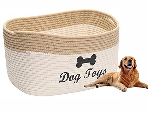 Brabtod Baumwollseilkorb für Hundespielzeug mit Griff, Hundeleinenkorb, Haustierbett, Haustierspielzeugkiste – Perfekt…