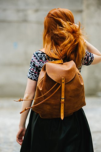 Leather backpack Woman backpack Ladies backpack Women's daily pack Chestnut leather backpack Small backpack Women's gift by Kruk Garage