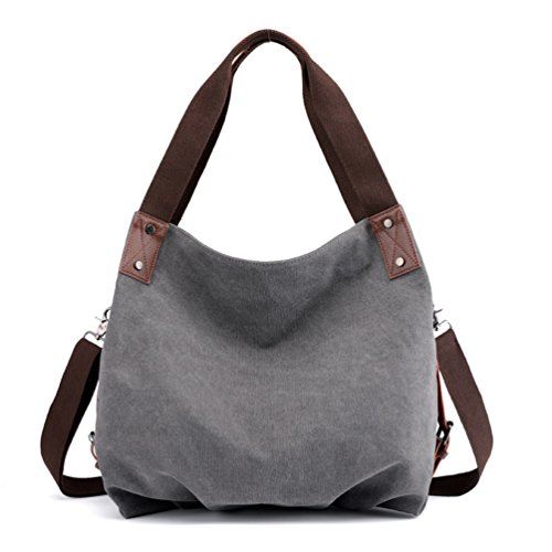 Bag Top Bags Crossbody Large Gray ZKOOO Handle Shoulder Handbag Canvas Tote Gray Shopper Womens Vintage Handbags YqABwxv