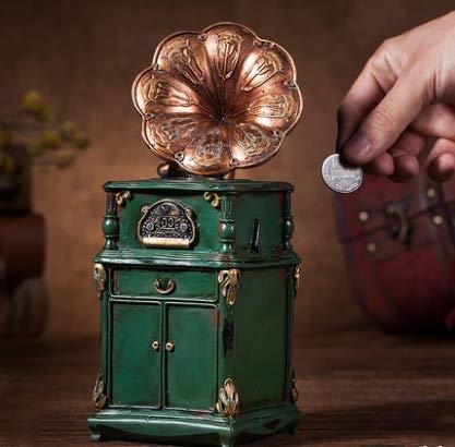 HLJZK Gramófono Retro Piggy Bank Ornamentos Clásicos Cambio ...