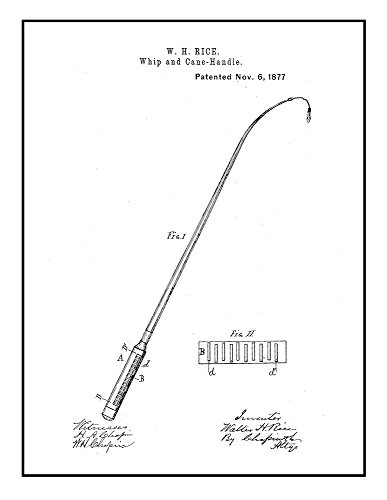 Whip And Cane-Handle Patent Print Black Ink on White with Bo