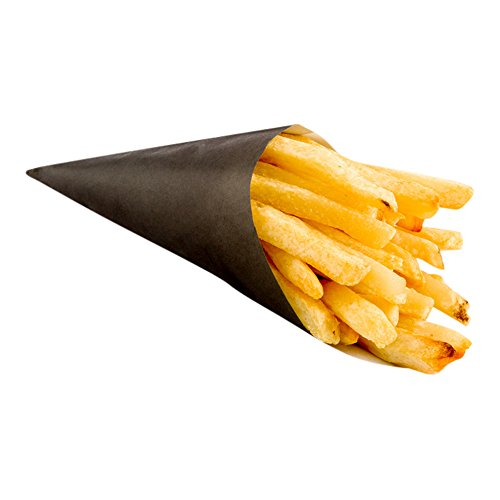 Conetek 5.9-inch Environment Friendly Black Finger Food Cones: Perfect for Appetizers - Grease-Proof and Food-Safe Paper Cone - Disposable and Recyclable - 100-CT - Restaurantware (French Fries Cone)