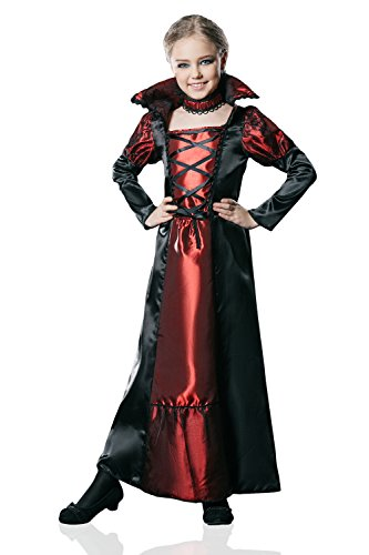 [Kids Girls Vampire Queen Halloween Costume Victotian Vampira Dress Up & Role Play (8-11 years, black and] (Halloween Costumes Ideas For Girls Age 12)