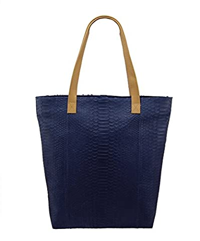 Genuine Midnight Blue Python Leather and Tan Napa Lambskin Large Shopper Tote Bag - Lambskin Leather Tote Bag